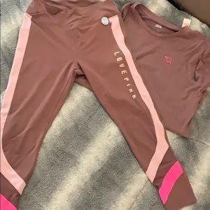 Pink size large leggings and tee